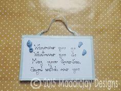 Baby Boy or Baby Girl Guardian Angel Quote Nursery Wall Decor Keepsake Gift Idea by MaddiclayDesigns on Etsy