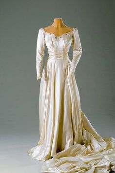 Wedding dress worn by Dina Merrill, in 1946  From the Hillwood Estate