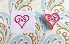 Custom stamp, couple stamp, heart and initials hand carved stamp, custom rubber stamp, lovers stamp, relationship stamp, wedding stamp