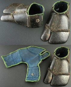 Japanese kogake are various types of armoured tabi foot coverings that could cover just the top of the foot or be worn as a shoe or slipper. Kogake could be covered with small iron plates or kusari (chain armour). Samurai Weapons, Samurai Armor, Arm Armor, Samurai Costume, Ancient Armor, Medieval Armor, Arte Ninja, Armor Concept, Fantasy Armor