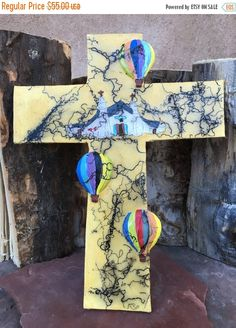 ON SALE NOW Balloon Fiesta Pueblo Church Horsehair Fired Corrales Old Church Wall Hanging Cross