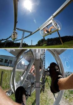 This looks like an interesting way to travel. The Shweeb is a self-enclosed, pedal-powered personal pod already in use at an amusement park in New Zealand. Pedal-Powered Personal Pod