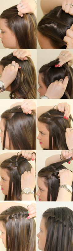 DIY Waterfall Braid: How to do the waterfall braid. My sister did this on short hair, and it was still amazing!!