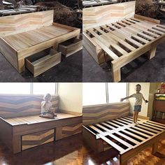 Converts to a full size king bed with 2 pull out d. Converts to a full size king bed with 2 pull out drawers to give you of storage for books, toys, and much much more. Built with a strong mahogany wood structure. Diy Bett, Diy Holz, Remodeled Campers, Bedroom Bed, Bedroom Headboards, Wood Bedroom, Old Wood, Pallet Furniture