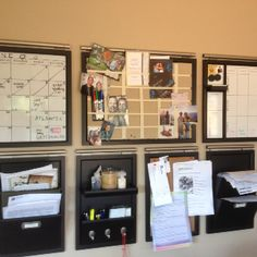 Pottery barn organizer 1. Monthly calendar 2. Pin board 3. Weekly calendar 4. Mail box 5. Cork board 6. Bill holder