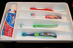 Utensil Holder as Toothbrush Organizer