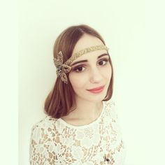 Gold Metallic Bronze 1920 Great Gatsby Flapper Headband