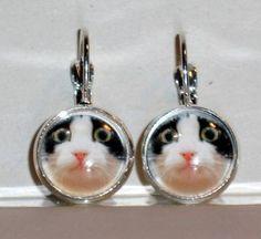 Ohrringe Katze schwarz weiß Glas handgemacht Modeschmuck Damen Hänger Ohrschmuck Neuware