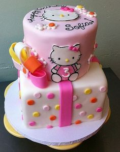 Hello Kitty birthday cake for 3 year old in 2 tiers and light pink.JPG