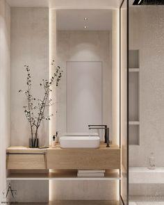 Bathroom Design Luxury, Modern Bathroom Design, Interior Design Living Room, Apartment Interior, Apartment Design, Bathroom Design Inspiration, Minimalist Interior, Bathroom Styling, Bathroom Lighting