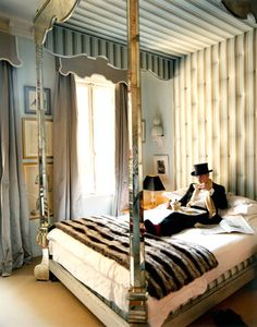 Interior Designer Miles Redd in his bedroom.