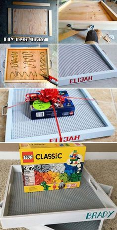 Build portable Lego tray with a plywood board four wood strips a standard Lego baseplate and other simple tools. Build portable Lego tray with a plywood board four wood strips a standard Lego baseplate and other simple tools. Diy Kids Room, Diy For Kids, Lego Tray, Diy Lego Table, Pot Mason Diy, Diy Cadeau Noel, Navidad Diy, 242, Creative Gifts