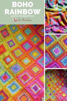 Gratis haakpatroon, ontworpen door Kaz Hall/Insomnia Crochet, met toestemming naar het Nederlands vertaald. Prachtige deken, gehaakt met Stylecraft Special DK en een join-as-you-go haakmethode, waardoor je de vierkanten niet aan elkaar hoeft te haken. Op de website van Een Mooi Gebaar vind je meer dan duizend gratis haakpatronen, zonder ingewikkelde afkortingen, mét veel stekenuitleg én duidelijke foto's. Kom je ook eens kijken? Rainbow, Boho, Crochet, Rain Bow, Rainbows, Bohemian, Ganchillo, Crocheting, Knits