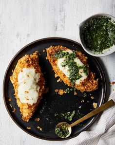 potato chip crusted chicken with arugula pesto recipe