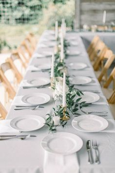 Minimalist taper candle and greenery centerpiece rustic wedding Modern Rustic Chic White Wedding Green Wedding Centerpieces, Greenery Centerpiece, Wedding Flower Arrangements, Centerpiece Ideas, Long Table Centerpieces, Simple Wedding Decorations, Wedding Ideas, Wedding Advice, Wedding Couples