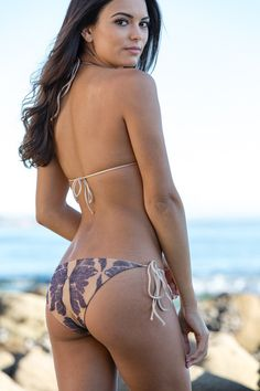 The Girl and The Water - Cali Dreaming - Feather/Nude Bikini Bottom - $98