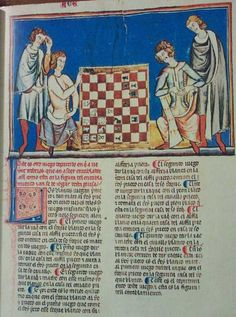 Christian men, Lacing detail on undertunics is really visible.  Alfonso X Book of Games.