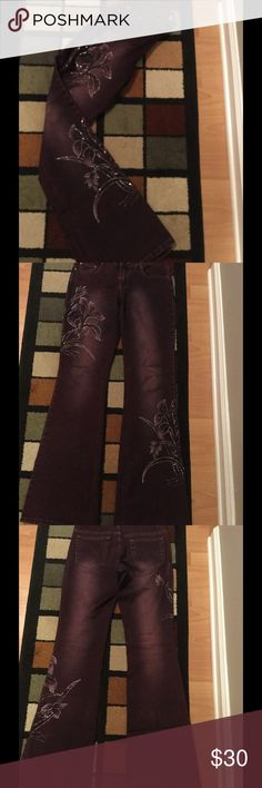"""Cache Sz 4 rhinestone denim pants Good pre owned condition , some rhinestones missing Cache front rhinestone pants Sz 4 , inseam 34"""" ,15,5 """" waist Cache Pants Boot Cut & Flare"""