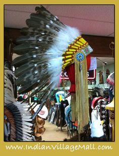 War Bonnet, Museum Quality From Laughing Eagle-Handmade And American Made. Hand Beading. http://indianvillagemall.com/headdress/headdress.html