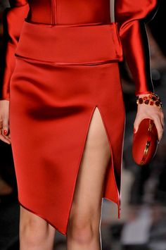 Red is the ultimate cure for sadness. | www.TwoPinkHouses.com - Bill Blass Alexandre Vauthier 2012