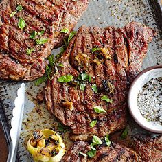 Try these sizzling Steaks with Roasted Garlic for your next weeknight dinner. More easy dinners: http://www.bhg.com/recipes/healthy/dinner/quick-easy-5-ingredient-recipes/ #myplate