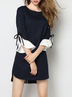 Shift dress with those arms Blue Polyester Ruffled Frill Sleeve Crew Neck Mini Dress Casual Dresses, Short Dresses, Fashion Dresses, Fashion Clothes, Sewing Clothes Women, Clothes For Women, Only Shirt, Sleeves Designs For Dresses, Sleeve Designs