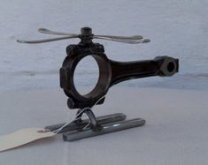 Helicopter figurine scrap metal large REDUCED by MexicanArtisans