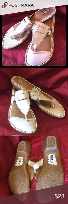 Born Thong sandals size 11 Cream Off white color Born Thong Size 11 Cream Off White please see picture sole look because dingy price sticker Born Shoes Sandals