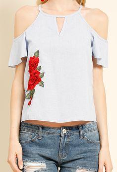 Floral Applique Cutout Open-Shoulder Top