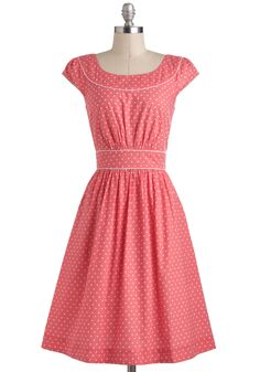 Day after Day Dress in Hearts by Emily and Fin - Pink, White, Casual, A-line, Cap Sleeves, Spring, International Designer, Cotton, Long, Novelty Print