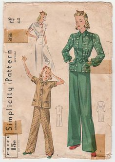 Women's Pajamas Sewing Pattern Misses Size 18 Bust