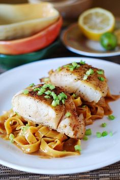 Asian fish and peanut sauce noodles.....more noodles /person~more sauce? Definitely use a very large non-stick skillet! Cook on a night when you have a little extra time. Good, though!