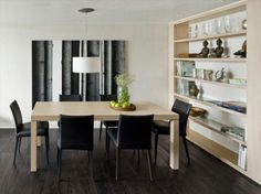 Dining Room Black Leather Dining Chair Light Brown Dining Table Pendant Grayscale Painting Fruit Plate Green Apple Flower Vase Curio Cabinet Grey Book Clock Table Decoratin Wooden Floor How to Design Your Minimalist Dining Room