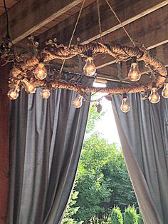 hula hoop chandelier & edison bulbs