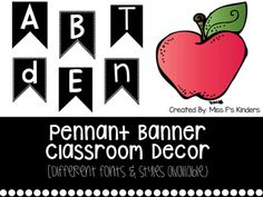 black and white pennant banners for classroom decor. multiple fonts and styles available