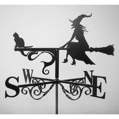 witch and cat weathervane by black fox metalcraft Holidays Halloween, Happy Halloween, Halloween Decorations, Halloween Prints, Witch Cottage, Witch Cat, Weather Vanes, Gothic House, Samhain