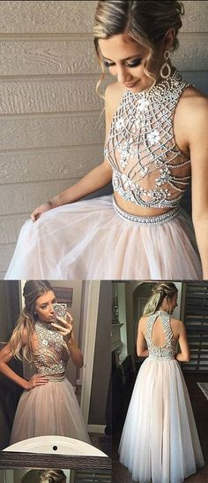 Two Piece Prom Dresses A Line Prom Dresses Tulle Prom Dress with Beads Pretty High Neck Prom Dresses 2 Pieces Evening Dresses Prom Dress Prom Dresses Two Piece, A Line Prom Dresses, Tulle Prom Dress, Grad Dresses, Quinceanera Dresses, Dance Dresses, Homecoming Dresses, Evening Dresses, Bridesmaid Dresses