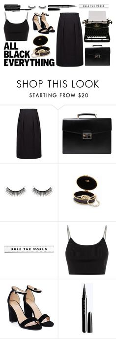 """all black everything"" by mimas-style ❤ liked on Polyvore featuring Prada, Battington, Alexander Wang, Nasty Gal, MAC Cosmetics and allblackoutfit"