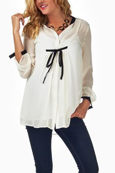 White-Sheer-Chiffon-Maternity-Blouse #maternity #fashion