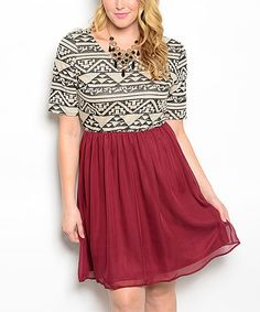 This White & Burgundy Tribal-Bodice Dress - Plus is perfect! #zulilyfinds