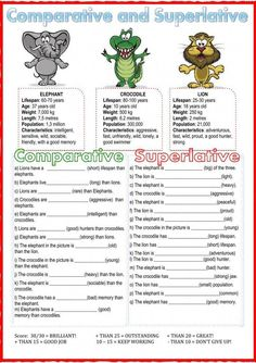 Comparative and superlative Language: English Level/group: Grade intermediate School subject: English as a Second Language (ESL) Main content: Comparatives and superlatives Other contents: adjectives Teaching English Grammar, English Grammar Worksheets, Grammar And Vocabulary, Grammar Lessons, English Language Learning, English Vocabulary, German Language, Japanese Language, Teaching Spanish