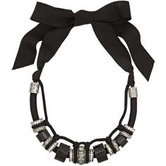 Lanvin Gunmetal-tone, bead and Swarovski crystal necklace (1,825 CAD) ❤ liked on Polyvore featuring jewelry, necklaces, black, black jewelry, chunky necklace, swarovski crystal beads necklace, knot necklace and bead necklace