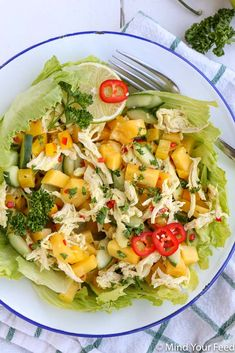 Oosterse kip mango salade - Mind Your Feed Healthy Dinner Recipes, Cobb Salad, Mexican, Ethnic Recipes, Dressings, Food, Pesto Salad, Essen, Meals