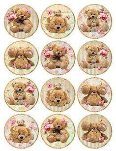Vintage inspired teddy bear round stickers assorted sizes roses flowers #Handmade
