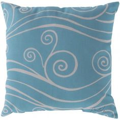 turquoise and white wave pillow