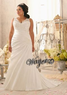 Cham Custom Made Brides Plus Size Wedding Dresses V-neck Lace Appliques Decorated Ruched Soft Satin A-line Gowns HL-PWD2090 $155.00