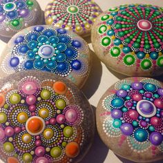 Dot Art Mandala Painted Stone Fairy Garden by CreateAndCherish