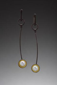 Sun Spot earrings, oxidized sterling silver, 18K gold bi-metal, freshwater pearls designed by Judy Morgan @ jheatherdesigns.com photo by Doug Yaple