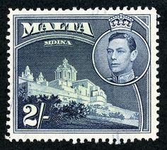 """Malta 1938 Scott 202 2sh dark blue & light green """"Mdina Cathedral"""""""