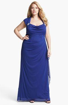 Xscape Ruched Gown (Plus Size) Royal Tiara Blue 18W